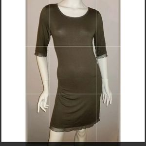 Natural Life Size Large L Boho Sheath Dress Olive